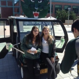Vic and Jamie pose with the Spirit Mobile