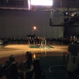 The Men's team being introduced before the basketball showcase on Friday