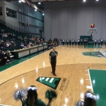 The BU Zoo President Andrew Loso addressing the crowd at the Basketball Showcase