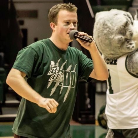 The BU Zoo President Andrew Loso addressing the section at the Basketball Showcase (Via Jim Blodgett)