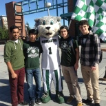 Baxter posed with students on Green Day Friday