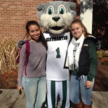 Baxter with students on Green Day Friday