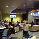 Students packed the marketplace for the viewing party