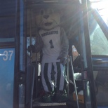 Baxter boarded the OCCT bus to wish everyone a happy Green Day Friday