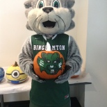 Baxter poses with a Bearcats pumpkin in C4