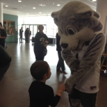 A young Bearcats fan shows off his BU Zoo tattoo to Baxter the Bearcat (and Baxter approves!)