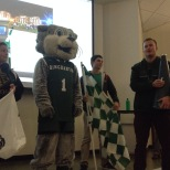 Baxter the Bearcat at an info session on Green Day Friday