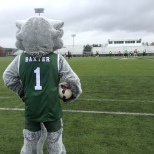 Baxter looked on as the men's soccer team prepared for their home playoff game