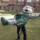 Baxter leaped into the arms of VP of Social Media Brett Malamud's arms