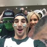 Women's basketball head coach Linda Cimino posed with Mr. Green and Brett Malamud