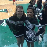 Cheerleaders Megan Durkin and Erika Merkel
