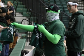 Mr. Green distributed limited edition BU Zoo rally rags to students