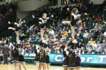 The Cheer Team gets the crowd on their feet