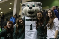 Students pose with Baxter